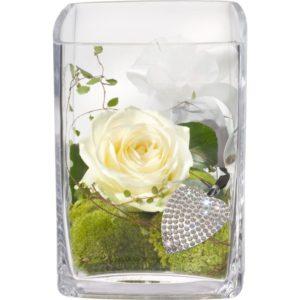 "Ordina ""Rosa bianca con portachiavi Swarovski"""